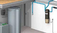 Die Zentraleinheit wird normalerweise im Keller – im Heiz- oder Wirtschaftsraum – installiert.