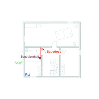 Zentralstaubsauger: Installation Kellergeschoss