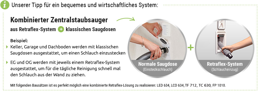 Kombinierter Zentralstaubsauger aus Retraflex-System und klassischen Saugdosen